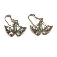 Comedy & Tragedy Masks: Sterling Silver Hanging Earrings